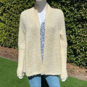 LOFT Fuzzy Cream Open Cardigan Sweater